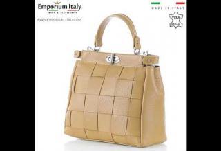 Borsa a mano da donna in vera pelle DALILA, colore GIALLO OCRA, CHIARO SCURO, MADE IN ITALY