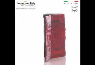 Portafoglio donna in pelle di pitone GIACINTO, certificato CITES, ROSSO, SANTINI, MADE IN ITALY