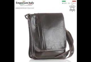 Tracolla uomo in vera pelle ULISSE, colore TESTA MORO, MAESTRI, MADE IN ITALY