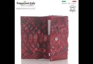 Portafoglio da donna in vera pelle di pitone PERVINCA, certif CITES, ROSSO SELVAGGIO, MADE IN ITALY
