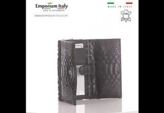 Portafoglio da donna in vera pelle di pitone PERVINCA, certificato CITES, TESTA MORO, MADE IN ITALY