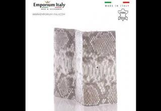Portafoglio donna in pelle di pitone GIACINTO, certificato CITES, ROCCIA, SANTINI, MADE IN ITALY
