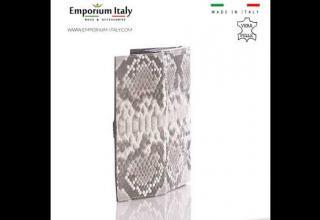 Portafoglio donna in pelle di pitone GIACINTO, certific CITES, colore GRIGIO ROCCIA, MADE IN ITALY