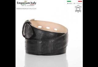 Cintura uomo in vera pelle di coccodrillo PRETORIA, certificato CITES NERO , SANTINI, MADE IN ITALY