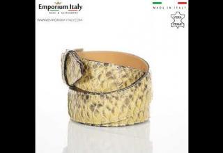 Cintura uomo in vera pelle pitone cert CITES GUATEMALA BEIGE/GIALLO/MARRONE RINO DOLFI MADE IN ITALY