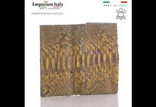 Portafoglio donna in pelle di pitone GIACINTO, cert CITES, MIELE, interno MARRONE, MADE IN ITALY