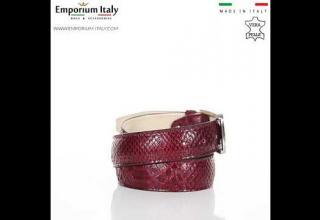 Cintura uomo in vera pelle di pitone certificata CITES CANCÙN, colore ROSSO RINO DOLFI MADE IN ITALY