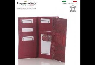 Portafoglio da donna in vera pelle di pitone PERVINCA, cert CITES, ROSSO, MADE IN ITALY
