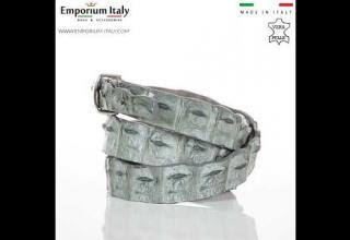 Cintura donna in vera pelle di coccodrillo DURBAN, certificato CITES, GRIGIO, SANTINI, MADE IN ITALY