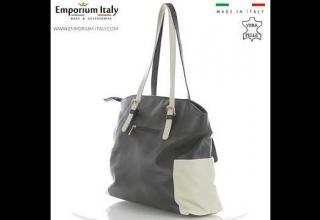 Borsa a spalla da donna in vera pelle CLERY, colore TESTA MORO/PANNA, CHIARO SCURO, MADE IN ITALY