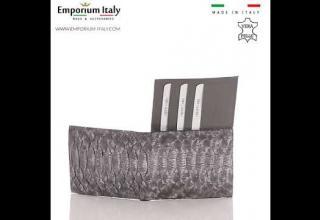 Portafoglio in pelle di pitone da uomo ABU DHABI certificato CITES, GRIGIO SANTINI MADE IN ITALY