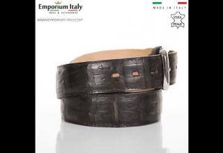 Cintura uomo in vera pelle di coccodrillo PRETORIA cert. CITES TESTA DI MORO SANTINI MADE IN ITALY
