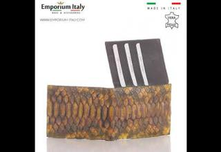Portafoglio in vera pelle di pitone da uomo ABU DHABI certificato CITES, MIELE SANTINI MADE IN ITALY
