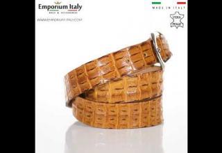 Cintura uomo in vera pelle di coccodrillo NEWCASTLE certificato CITES MIELE SANTINI MADE IN ITALY