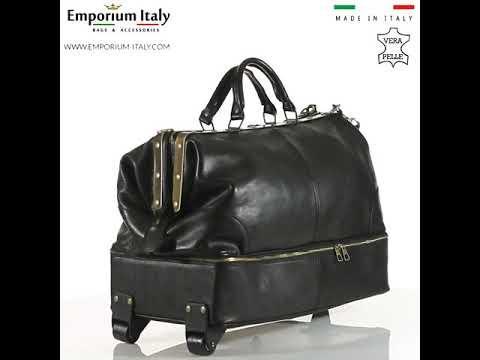 Borsone da viaggio in vera pelle BRAIES, colore NERO, MAESTRI, MADE IN ITALY