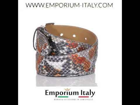 Cintura uomo BEIRUT C23 vera pelle pitone certificato CITES, NER/GRIG/MIEL ELIO ZAGATO Made in Italy