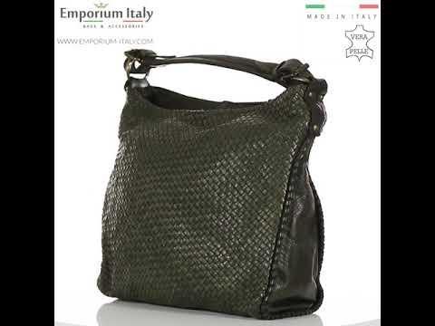 VERONICA : borsa donna a spalla, a tracolla, pelle morbida vintage, colore : VERDE, Made in Italy