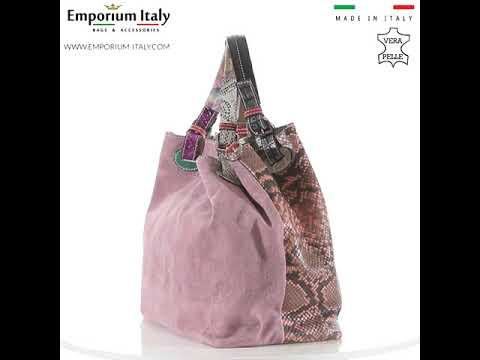 Borsa donna in vera pelle ZAHRA, colore ROSA/ROSA ANTICO, EMPORIO TITANO, MADE IN ITALY