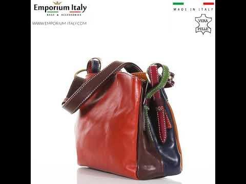 Borsa donna in vera pelle BENEDETTA SMALL, MULTICOLORE, SANTINI, MADE IN ITALY