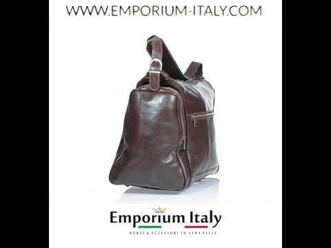 Borsone viaggio CALAMONE in vera pelle colore TESTA MORO, RINO DOLFI, Made in Italy