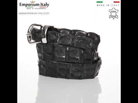 Cintura donna in vera pelle di coccodrillo DURBAN, certificato CITES, NERO, SANTINI, MADE IN ITALY
