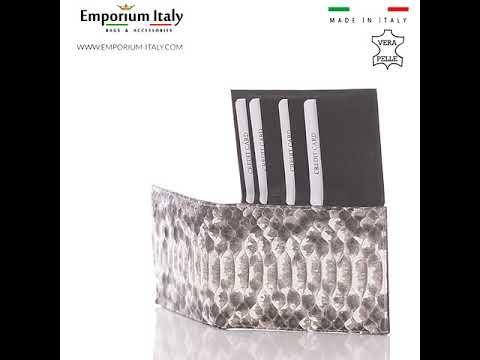Portafoglio in vera pelle di pitone da uomo ABU DHABI certificato CITES ROCCIA SANTINI MADE IN ITALY