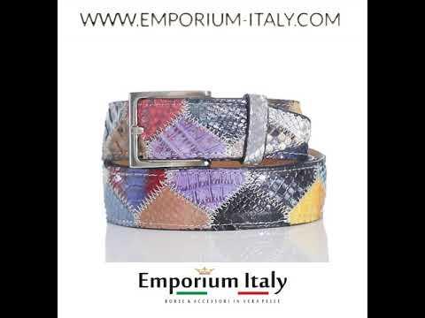 Cintura uomo/donna PRAGA C10, pitone certificato CITES, MULTICOLOR, Rino Dolfi, Made in Italy