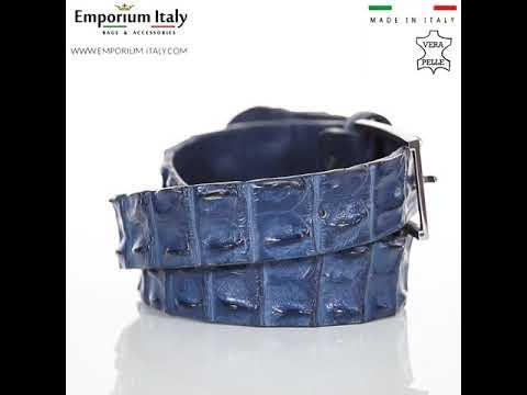 Cintura uomo in vera pelle di coccodrillo CATTOLICA, colore BLU, SANTINI, MADE IN ITALY