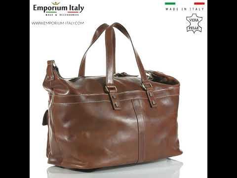 Borsone da viaggio in vera pelle NINFA, colore MARRONE, RINO DOLFI, MADE IN ITALY