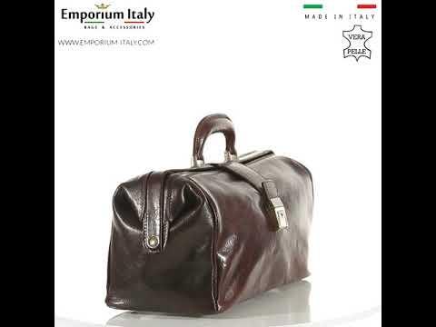 Borsa a mano da uomo in vera pelle modello dottore NICOLA, colore TESTA MORO, MAESTRI, MADE IN ITALY