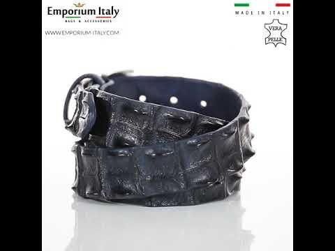 Cintura uomo in vera pelle di coccodrillo CATTOLICA, colore BLU SCURO, SANTINI, MADE IN ITALY