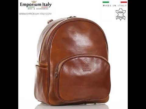 Borsa zaino donna in vera pelle MONTE VISO, colore MIELE/CUOIO, RINO DOLFI, MADE IN ITALY