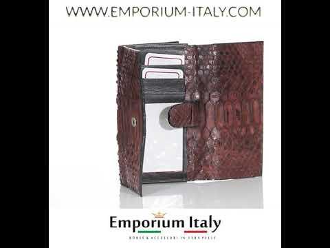 GIRASOLE : portafoglio donna in pelle di pitone, colore : MARRONE, Made in Italy