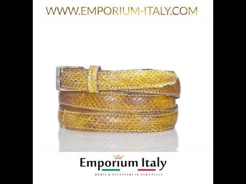 Cintura donna AMALFI vera pelle pitone certificato CITES, colore MIELE, RINO DOLFI, Made in Italy