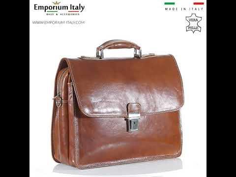 Borsa ufficio da uomo in vera pelle ANTONIO, colore MIELE, ARIANNA DINI, MADE IN ITALY