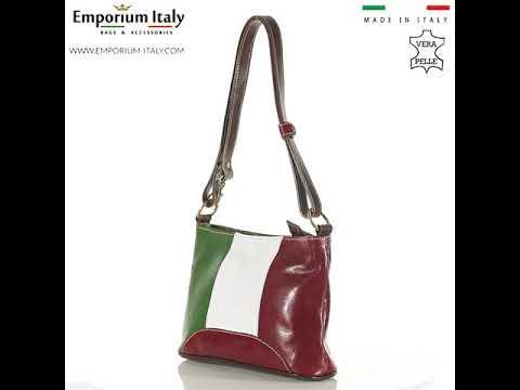 Borsa a spalla da donna in vera pelle GEMMA, tricolore bandiera italiana, RINO DOLFI, MADE IN ITALY