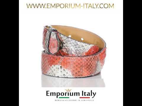 Cintura uomo TRIPOLI C34,vera pelle pitone certificato CITES, ARAN/BIANCO, Rino Dolfi, Made in Italy