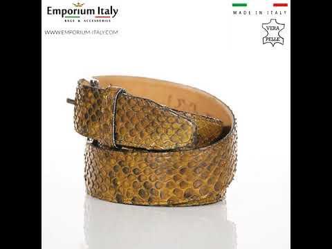 Cintura uomo in vera pelle di pitone certificata CITES GUATEMALA, MIELE, RINO DOLFI, MADE IN ITALY