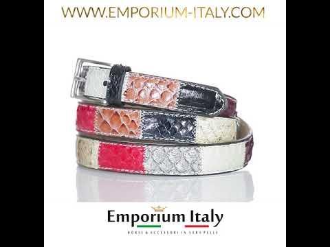 Cintura donna SIRACUSA, vera pelle pitone certificato CITES, MULTICOLORE, RINO DOLFI, Made in Italy