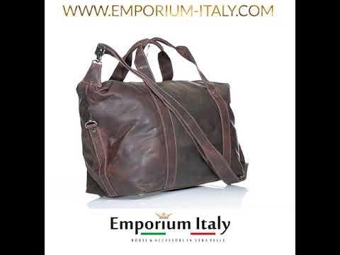 Borsa da viaggio TEVERE in vero pellame nabuk, TESTA DI MORO, MAESTRI, Made in Italy