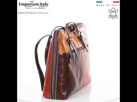 Borsa donna in vera pelle SANTINI mod. MANUELA colore MULTICOLORE Made in Italy