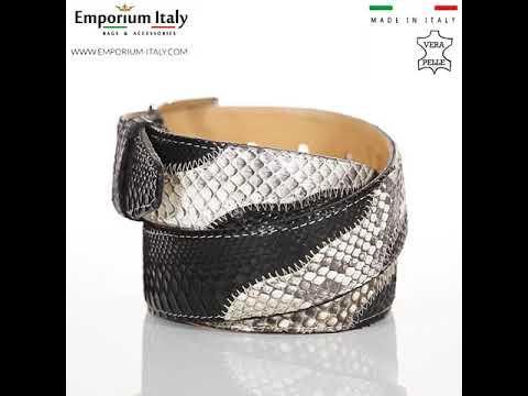 LAGOS: cintura uomo in pitone, certificato CITES, colore: BEIGE / NERO, Made in Italy