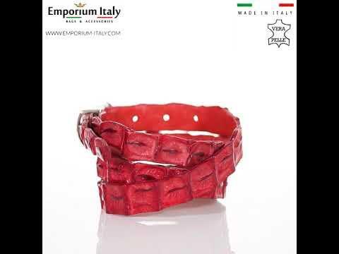 Cintura donna in vera pelle di coccodrillo DURBAN, certificato CITES, ROSSO, SANTINI, MADE IN ITALY