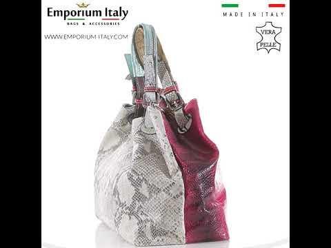 Borsa donna in vera pelle ZAHRA, colore ROSSO/BIANCO, EMPORIO TITANO, MADE IN ITALY