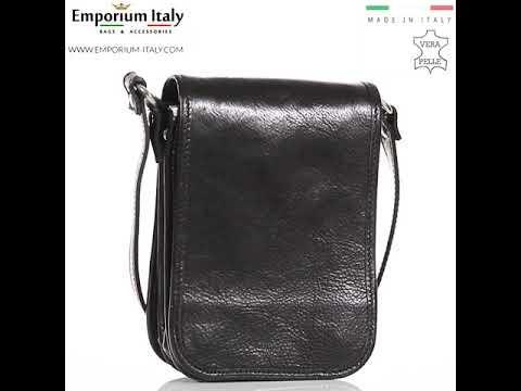 Tracolla uomo in vera pelle MILO, colore NERO, RINO DOLFI, MADE IN ITALY