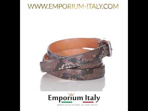 Cintura uomo FERRARA, vera pelle pitone certificato CITES, TESTA MORO, RINO DOLFI, Made in Italy