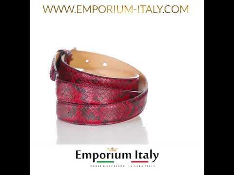 Cintura donna VARESE, vera pelle pitone certificato CITES, ROSSO/NERO, RINO DOLFI, Made in Italy