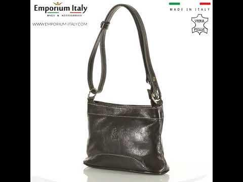 Borsa a spalla da donna in vera pelle GEMMA, colore TESTA DI MORO, RINO DOLFI, MADE IN ITALY