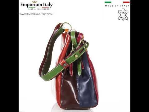 Borsa donna in vera pelle BENEDETTA, MULTICOLORE, SATINI, MADE IN ITALY