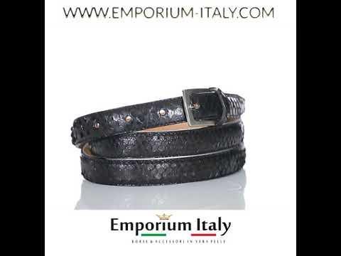 Cintura uomo/donna AMALFI vera pelle pitone certificato CITES TESTA MORO, RINO DOLFI, Made in Italy
